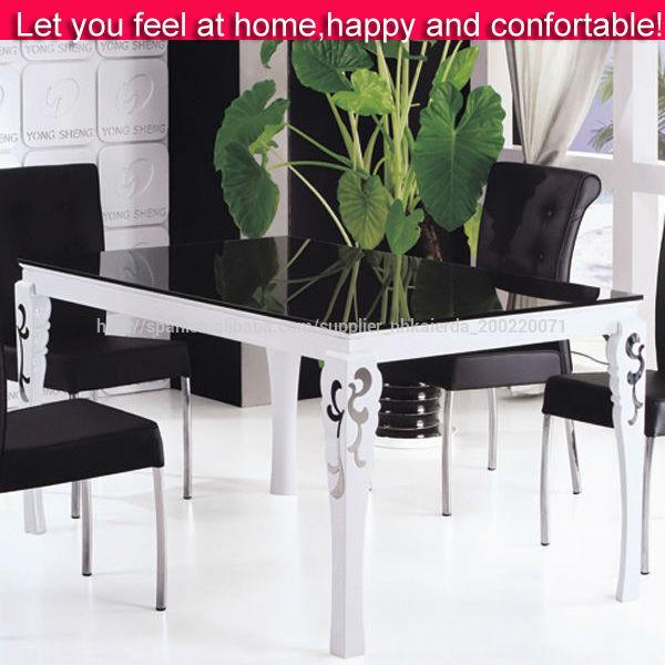 Madera mesa de comedor de vidrio con un diseño superior/tapa de ...