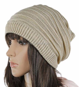 e11a6852a46 Unisex Stripe Baggy Slouchy Beanie Knit Skull Cap Warm Winter Hat BS-460