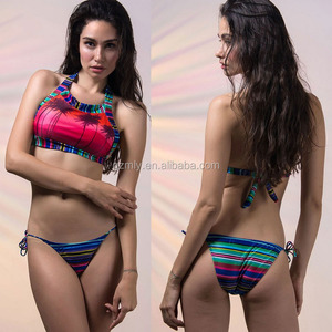 Multicolor Coconut Tree Padded Cropped Swimsuit open sexy girl full photo