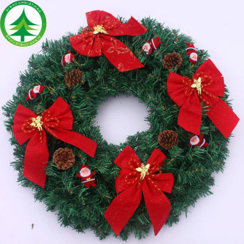 wholesale artificial christmas wreaths pinecone mixed red berry bowknot christmas wreath rattan with colour led lights