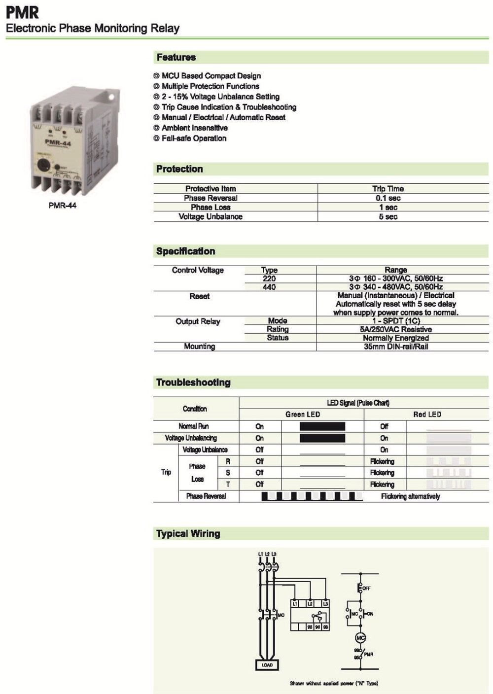 Pmr 44 Electronic Phase Monitoring Relay Buy Reverse On Off Pulse