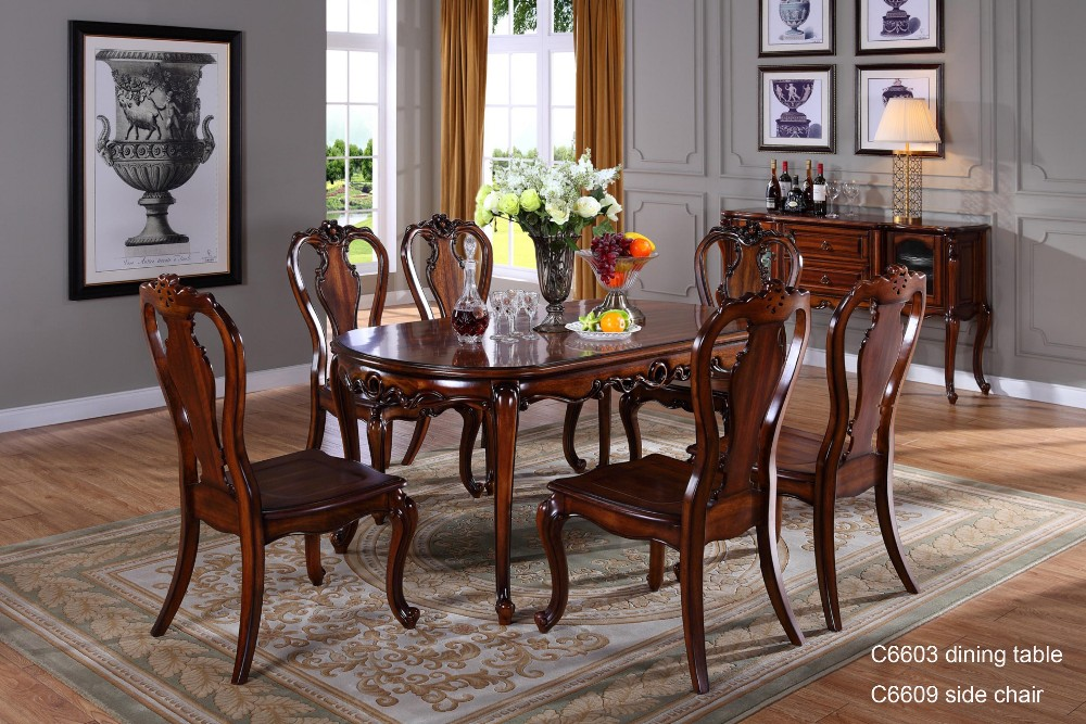 C6618 Wooden Traditional Indian Dining Table Room Furniture Carved Brown Antique