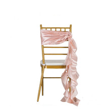 christmas taffeta ruffle curly willow chair sash for wedding banquet event