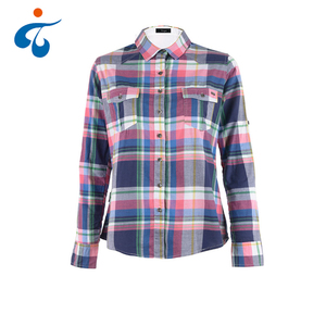 Custom logo woven plus size cotton plaid woman korean style clothes