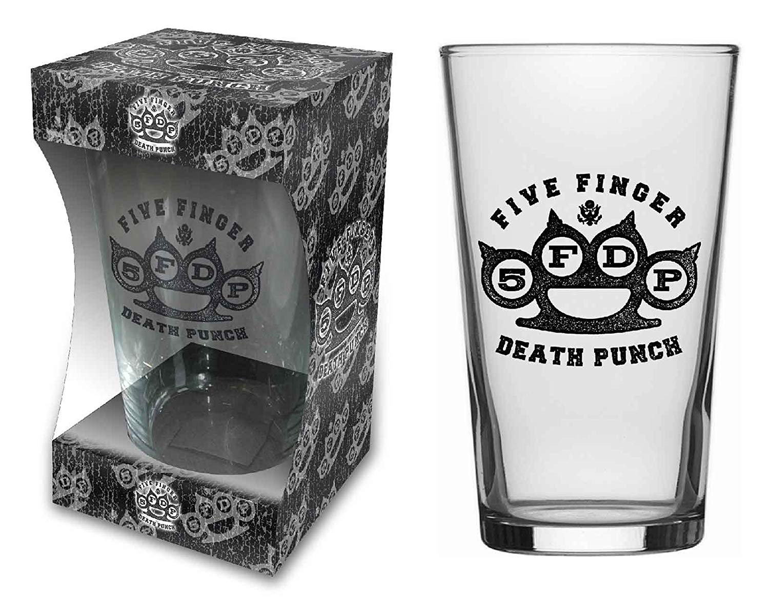 Five Finger Death Punch Beer Glass Knuckle Band Logo Official Boxed