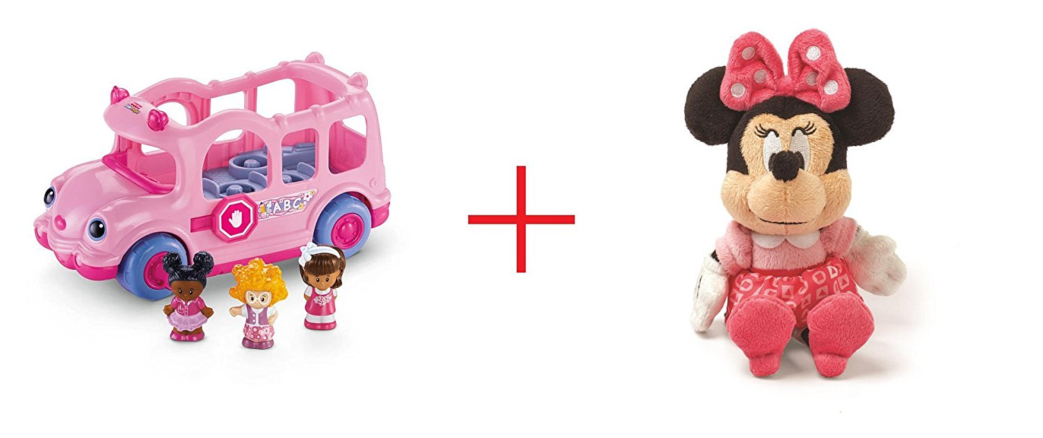 Fisher-Price Little People Lil' Movers School Bus and Mini Jingler - Minnie Mouse - Bundle