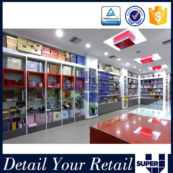 Modern Decoration Wall Mounted Stationery Shop Display