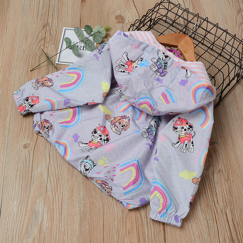 Cartoon Printed Hooded Jackets For Girls Outerwear Baby Jacket