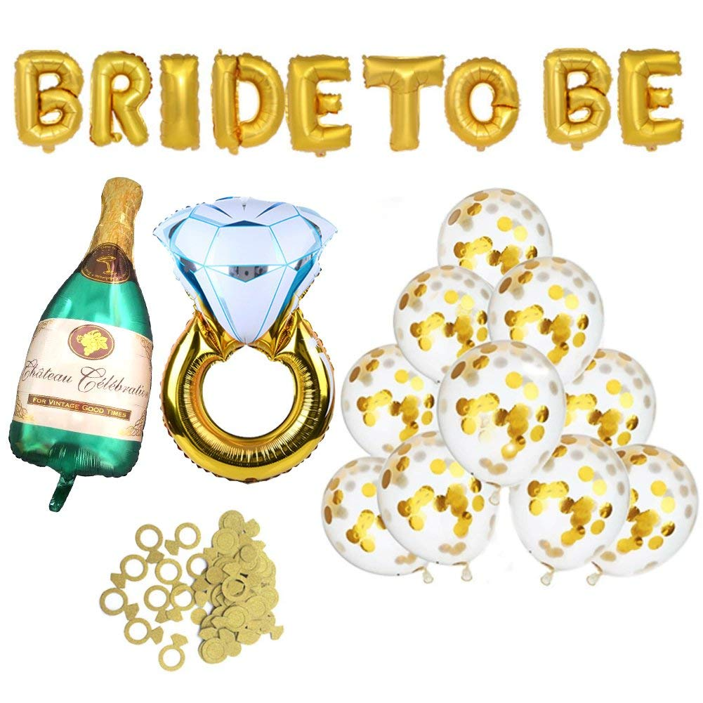 get quotations bachelorette party decorations bridal shower kit diamond ring and bride to be foil balloon