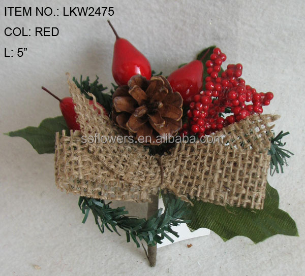 Christmas Decorations Red Berries Small Pick With Natural Color ...
