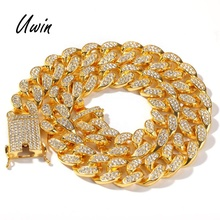 HipHop 20mm Cubaanse Link Chain Iced Out Cubaanse Crystal Miami Gouden Ketting Goud Zilver Ketting Armband Set Goedkope Ketting