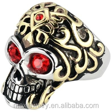 "Surgical Stainless Steel Unique Design Biker Skull Ring with ""10 Skulls"" Heads all around"