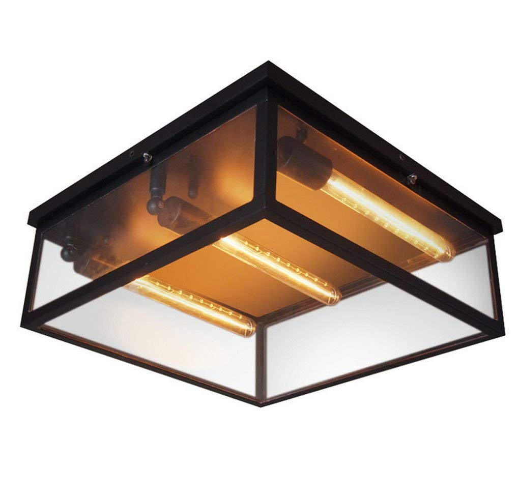 JCRNJSB Ceiling lamps, American style Retro aisle balcony bedroom Creative Industrial wind living room Iron crystal box Ceiling light E27 light source LED dimmable Environmental protection