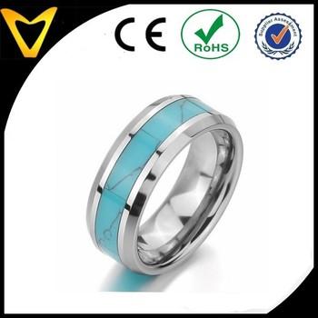 Charm Elegant Men Women S Tungsten Ring Band Turquoise Silver Blue