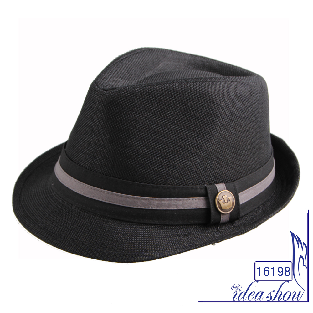 a4eabe859 JAKIJAYI brand wholesale customized Plain color simple fedora hat with  ribbon