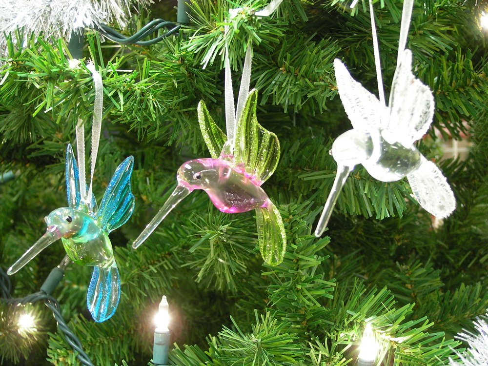 get quotations hummingbird glass ornaments with glitter accents set of 3 handblown ornament holiday decorations