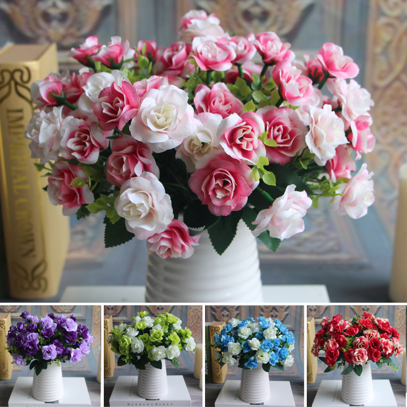 Austin Bunch 15 Heads Spring Silk Flowers Artificial Rose Wedding Fl Decor Plant Flower Arrangement Home