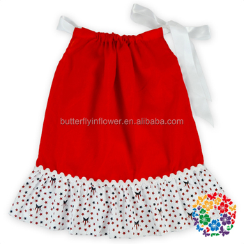 8ce866b485fb Little Girls Wear Western Party Dress Red White Blue Star Print Soft ...