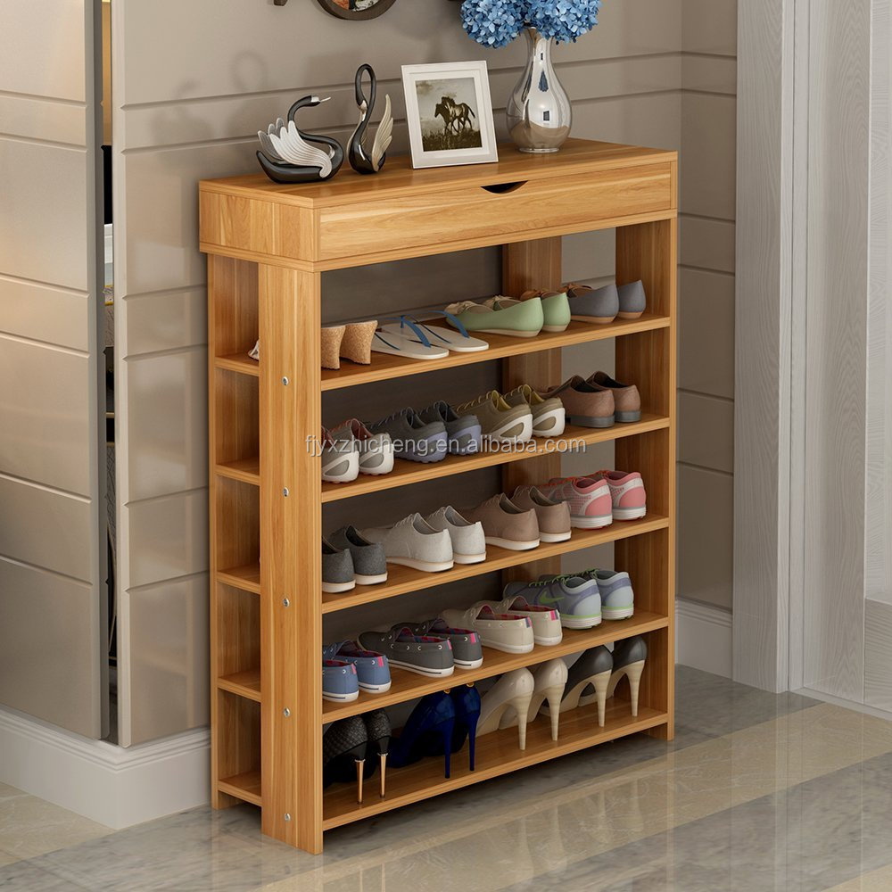 New Product Multi-function Shoe Racks 5-Tier with 1-Cabinet Totally Bamboo Shoe Rack Entryway Shoes Shelf Storage Organizer