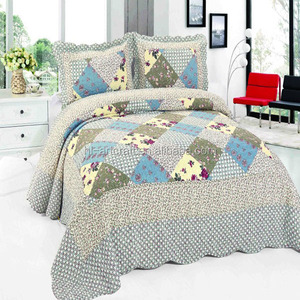 Cheap Grey Machine Embroidery Quilt Designs Printed Cotton Bedding Set