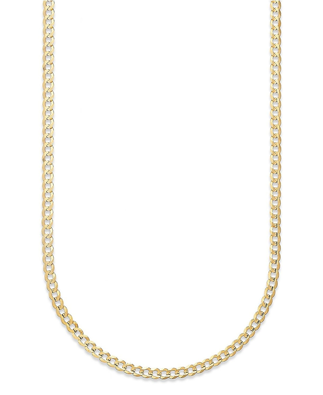 14K Solid Yellow Gold 2.65mm Cuban Curb Link Chain Necklace- Made in Italy