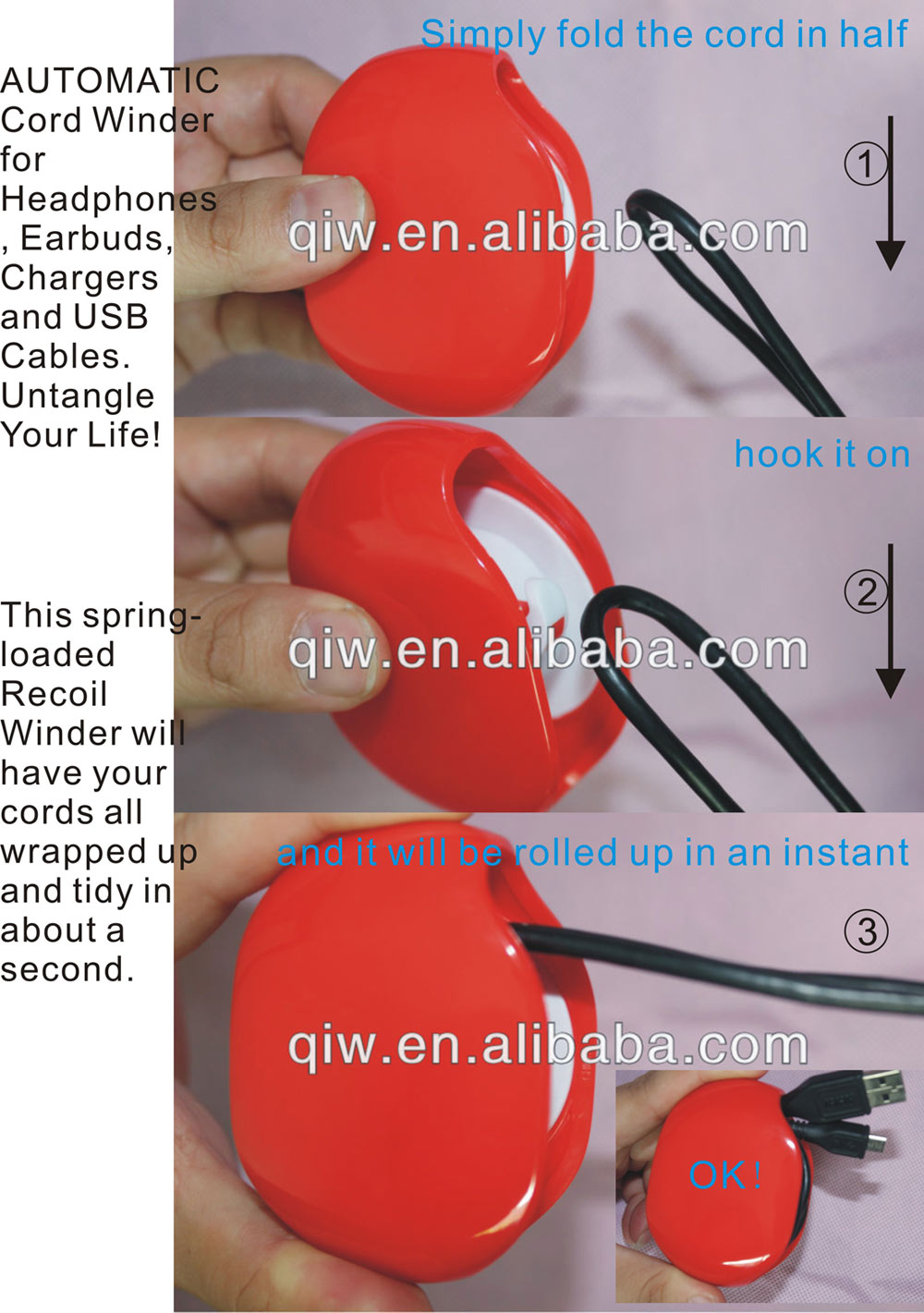 Recoil AUTOMATIC earphone cable winder made in China