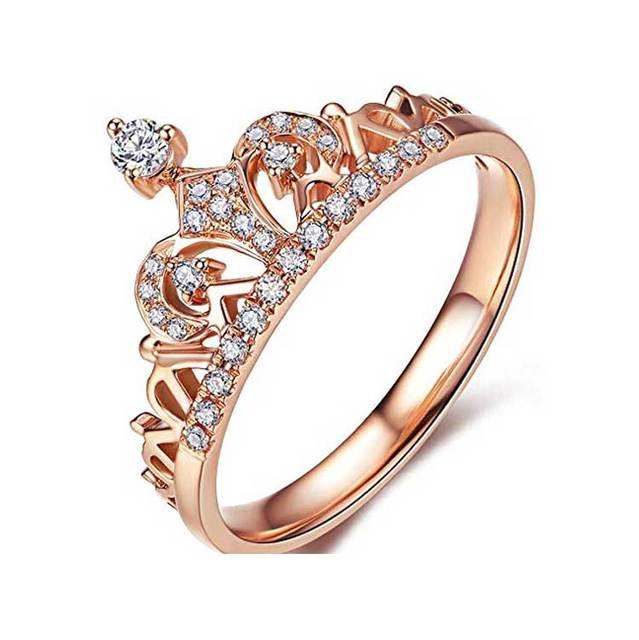 Women S Crown Tiara Rings Exquisite 18k Gold Plated Princess