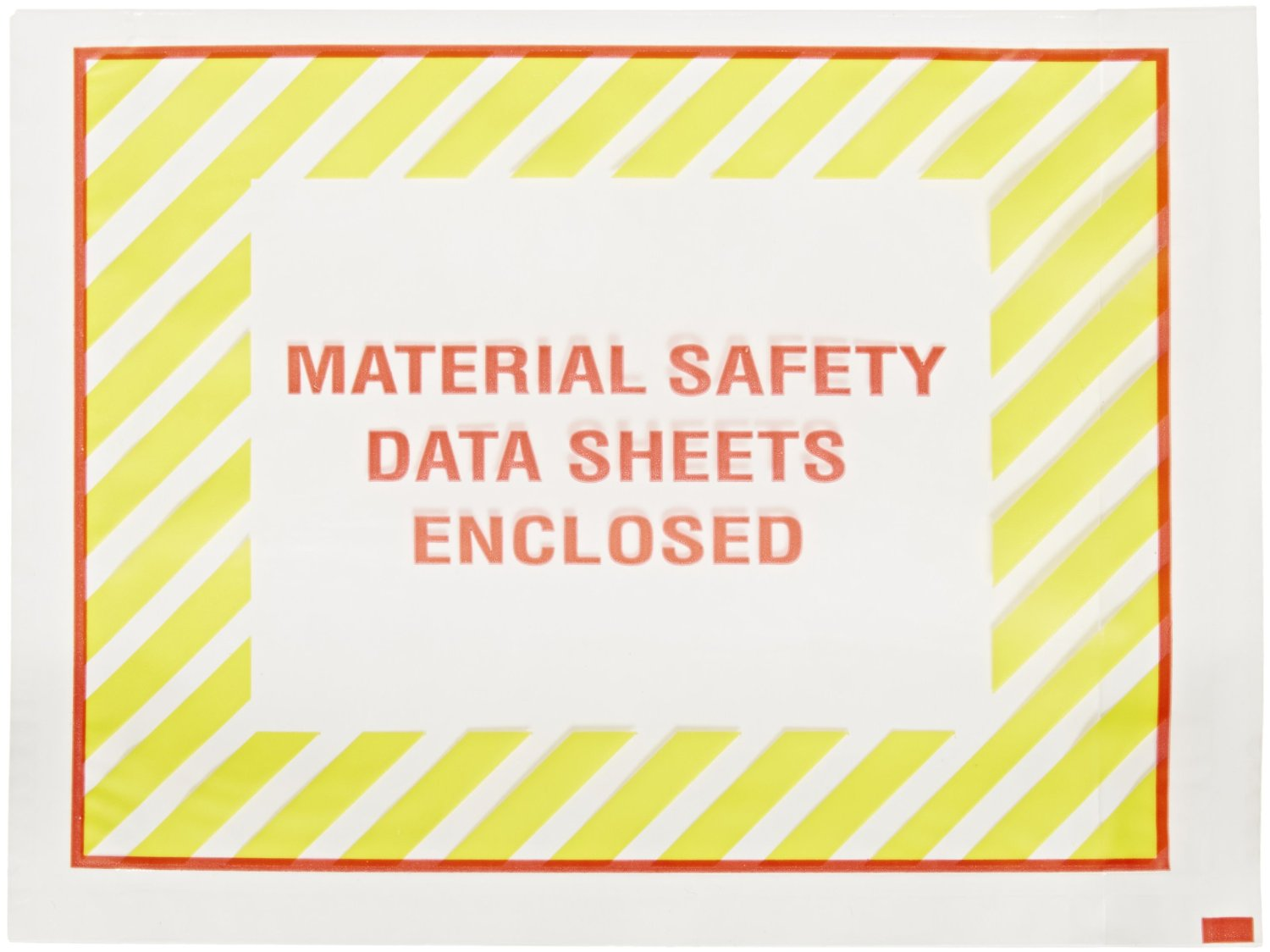 """Aviditi PL423 Poly Envelope, Legend MATERIAL SAFETY DATA SHEETS ENCLOSED, 4-1/2"""" Length x 6"""" Width, 2 mil Thick, Red/Yellow on White (Case of 1000)"""