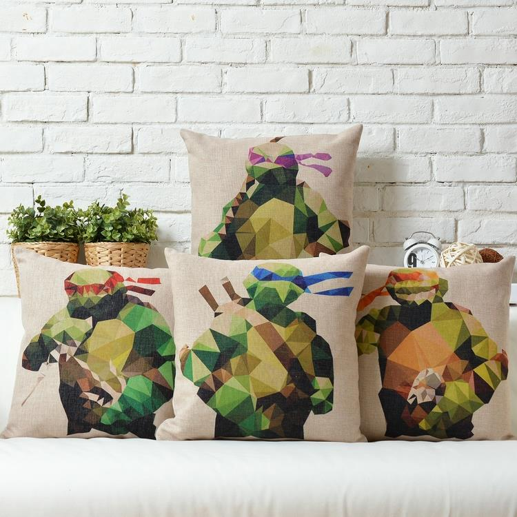 Free Shipping Linen Fabric Throw Pillow Hot Sale New Fashion Wedding Decor 45cm Ninja Turtles Home Sofa Cushion for Leaning On