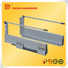 Sliding tracks for extension tables slide soft closing channel