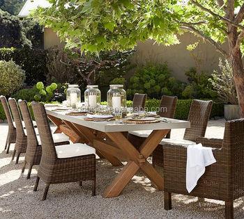 Abbott Outdoor Patio Zinc Top Rectangular Fixed Wooden Dining Table Chairs