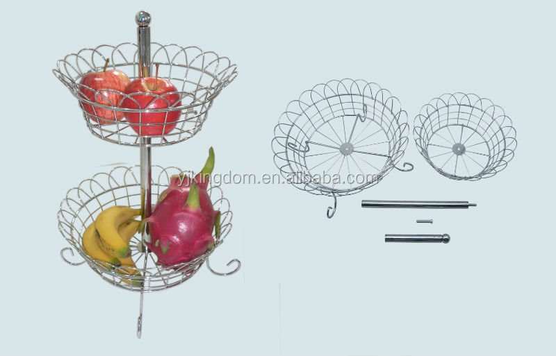 2-Tier Free Standing Metal Wire Fruit Basket Holder Rack with Chrome Plate