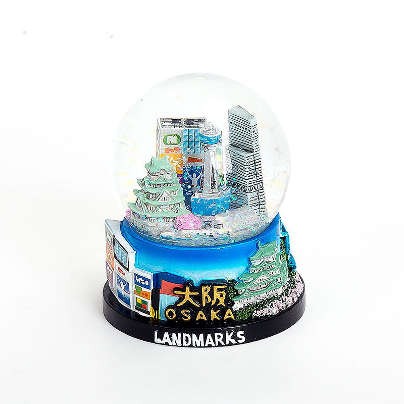 Hand Painting 65mm Glass Snow Globe Japan Souvenirs Custom Design Resin Snowball Tokyo Snow Dome Decoration