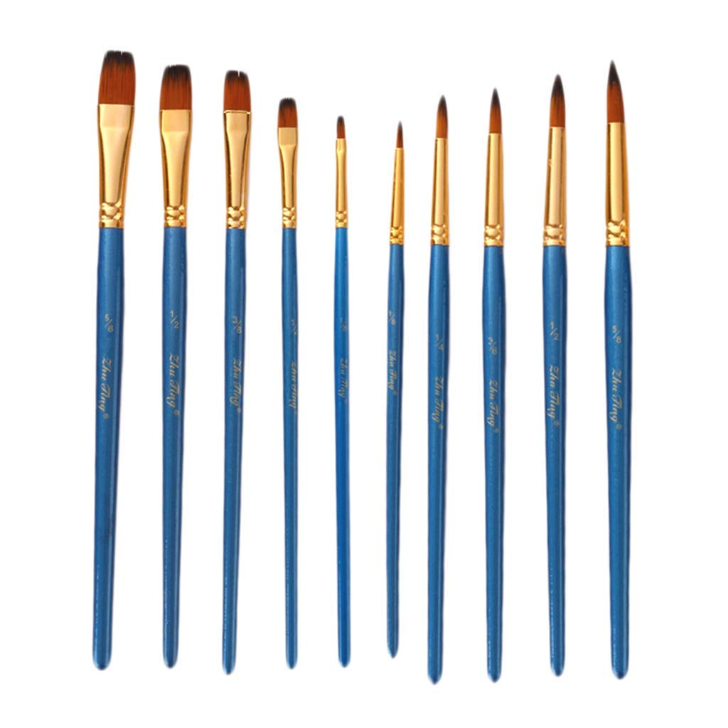 SM SunniMix 10 Pieces Assorted Flat Round Pointed Tip Wooden Handle Nylon Hair Brush for Oil Watercolor Acrylic Painting Blue
