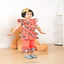 Wholesale Summer Autumn Baby Clothing Icing capris Sets Floral top Cotton Ruffled Girls Flutter Dresses Outfits