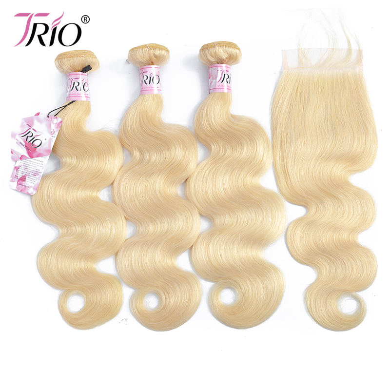 Trio Mink <strong>Brazilian</strong> Body Wave Blonde 613 <strong>Virgin</strong> Human <strong>Hair</strong> <strong>Bundles</strong> With Closure