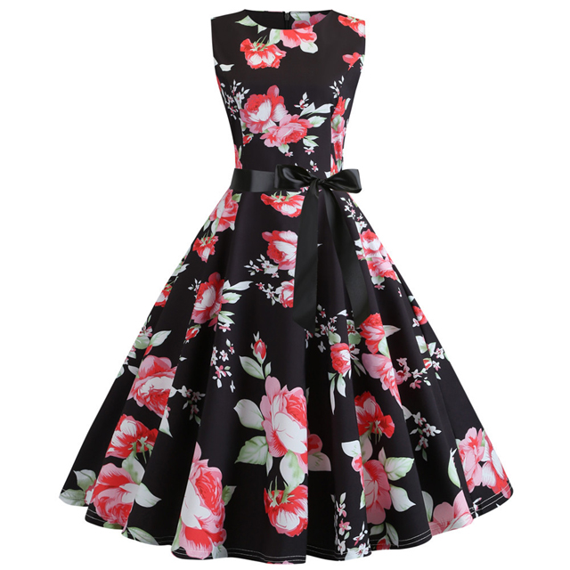 Floral Print Summer <strong>Dress</strong> 2019 Sleeveless Tunic 50s Women <strong>Vintage</strong> <strong>Dress</strong> Belt Casual Elegant Rockabilly Party <strong>Dresses</strong> Sundress