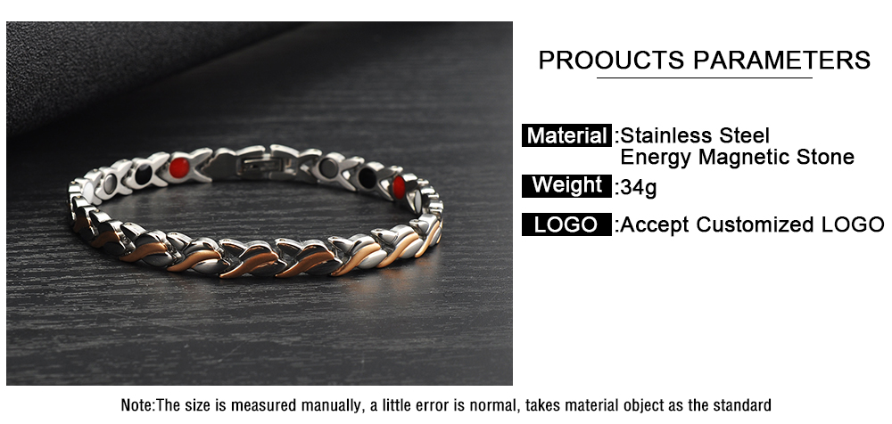 Fashion New Design Magnetic Stone Stainless Steel Quantum Energy Bracelet