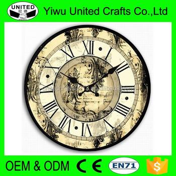 Promotional Home Decor Antique Wooden Quartz Wall Clock