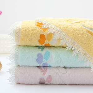 Elegent fashionable embroidery flowers decorative lace cotton bath towel