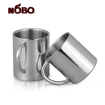 Promotion double wall stainless steel coffee mug with handle