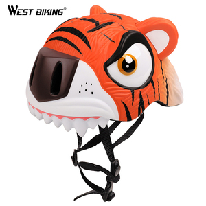WEST BIKING Children's 3D Animal Bicycle Helmet High density PC Cartoon 3-8  Years Adjustable Kids Safety Child Bike Helmet