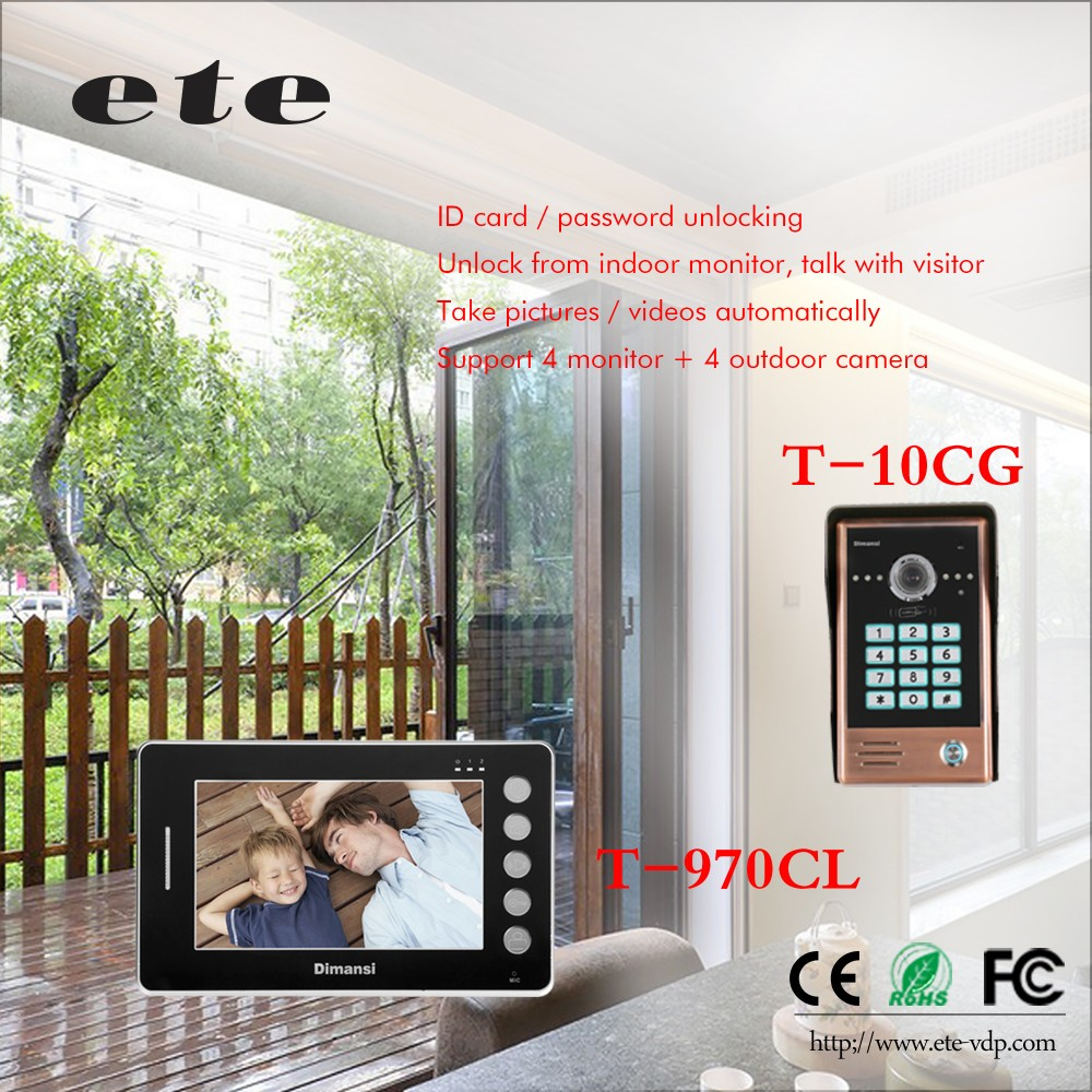 TCP IP WIFI 7 inch analog villa video doorbell intercom system with waterproof function