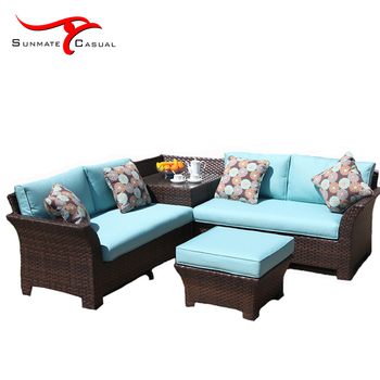 Modern Outdoor Furniture Garden Patio Rattan Wicker Sectional Corner Sofa Set With Footrest