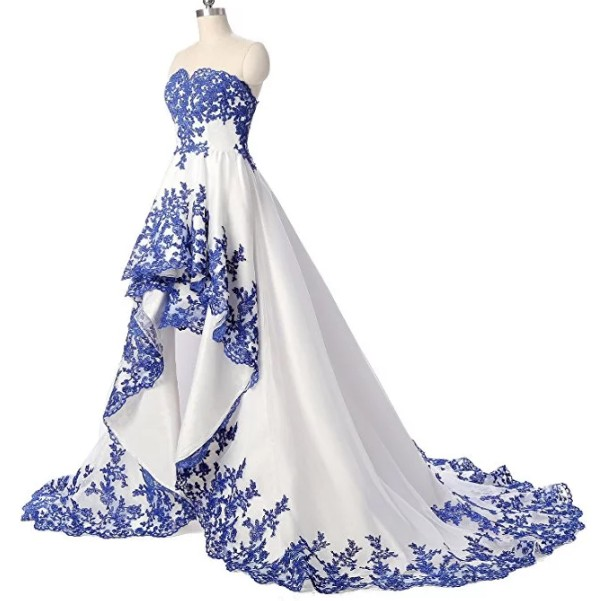 Retro Grown Two Tone Royal Blue and White Short Front Long Tail Wedding Dress