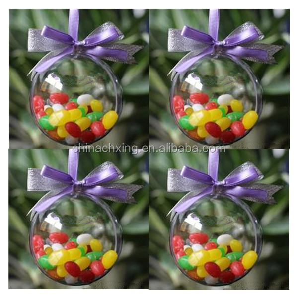 70mm CLEAR PLASTIC FILLABLE BALL FOR CHRISTMAS HANGING ORNAMENTS