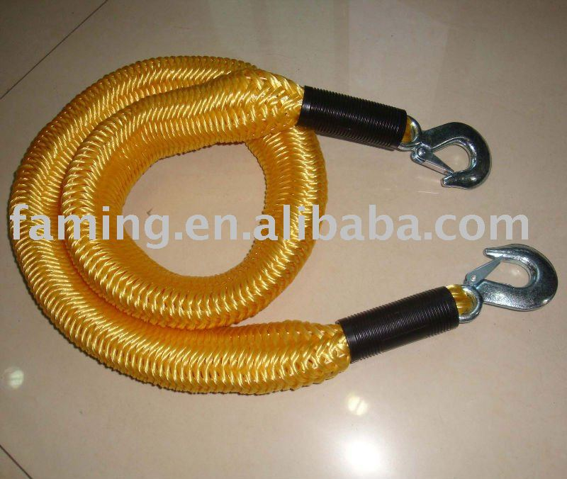 20mmx15ft Nylon elastic tow rope with heat treated snap hook