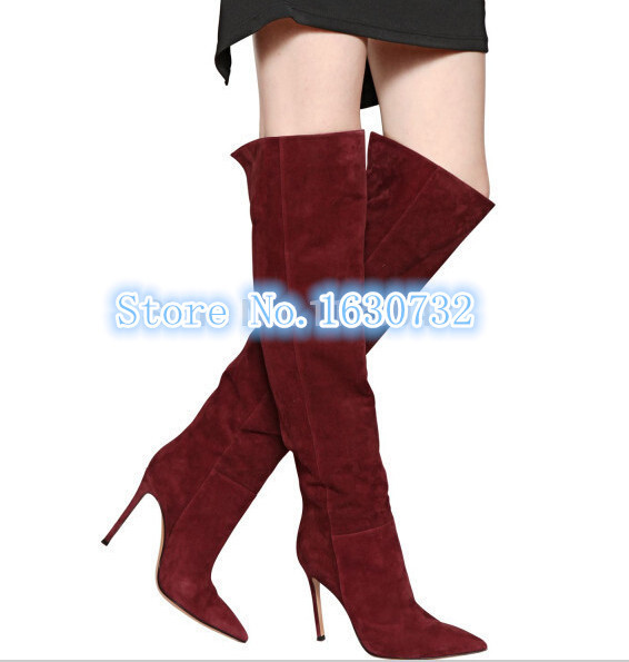 Sexy Wine Red Suede Leather Thigh High Boots 2015 Women Booties Pointed Toe Thin High Heels Zipper Women Boots Free Shipping
