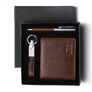 most popular items new hot products on the market brown color classical corporate wallet pen keychain gift set