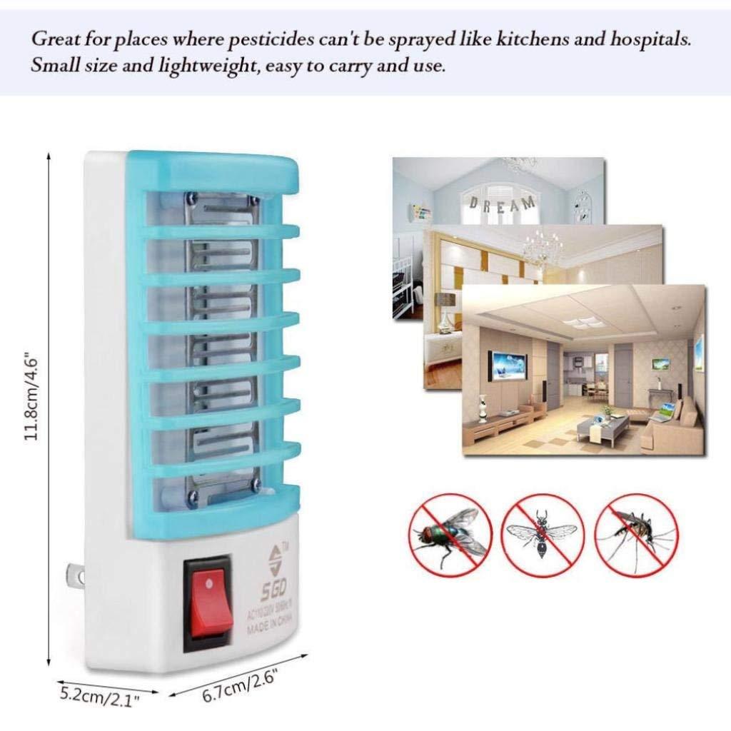 Rumas US Plug 110V Socket Mosquito Killer Lamp, Square-Shape Bug Trap Zapper Portable Insect Killer Light Bulb Repeller (Blue)
